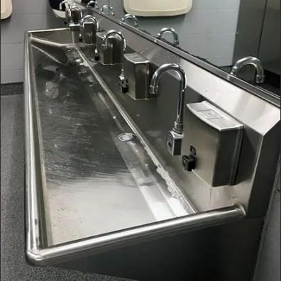 Restroom Gooseneck Faucet Wash Trough