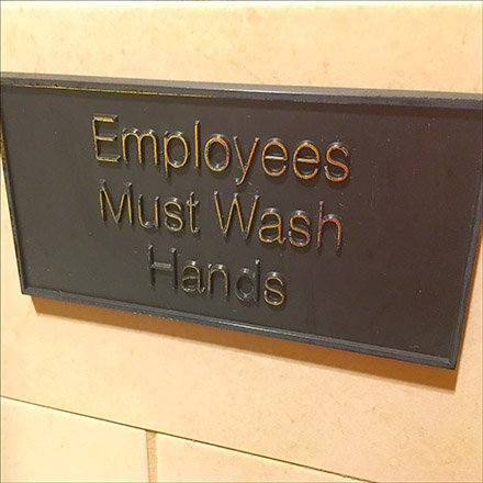 Restroom Plaque Enshrines Hand Wash Policy