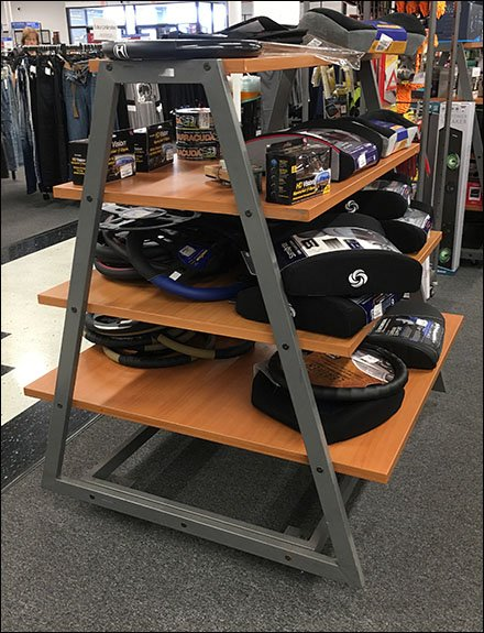 Trapezoid Shelf Unit Serves Automotive Sales