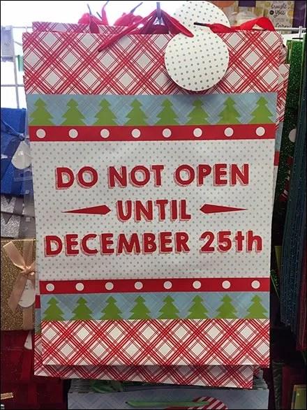 Do Not Open Until Christmas Gift Bag