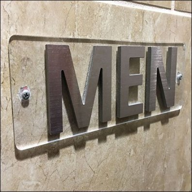 Flush Mount Men's Restroom Sign Feature2