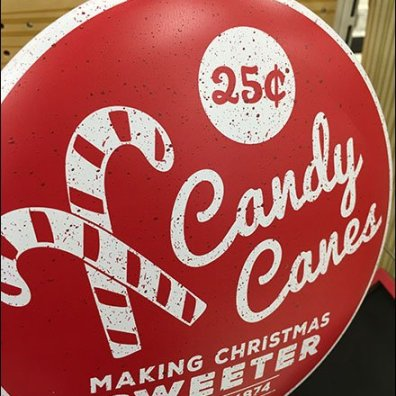 Old Fashioned Metal Candy Cane Sign Disk