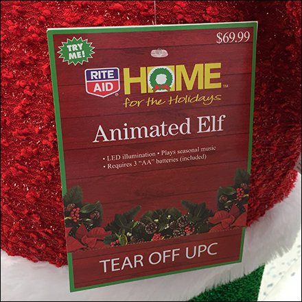 RiteAid Santa's Animated Elf Stands Guard Aux