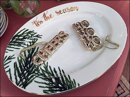 Christmas Ornaments On a Holiday Platter