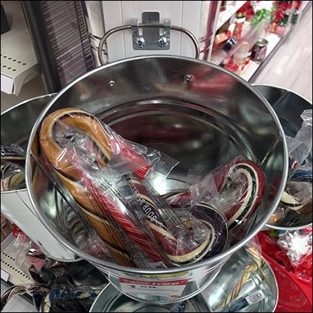 Galvanized Pail Tree Candy Cane Tower