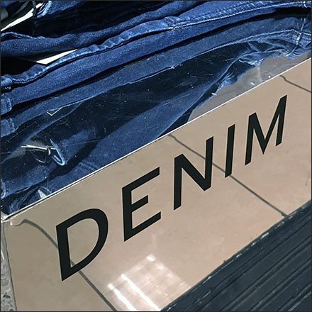 Denim Jean Mirrored Identification Sign