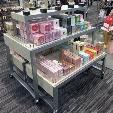Women Fragrance Stacked Trestle Tables Feature