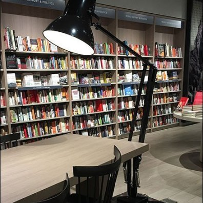 Giant Desk Lamp as Bookstore Floor Lamp