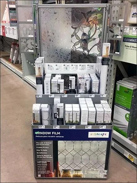 Window Film Merchandising Freestanding Display