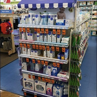 Mustela Branded Awning Endcap Display