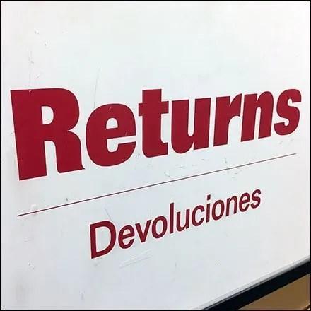Returns Processed Here Designator Sign