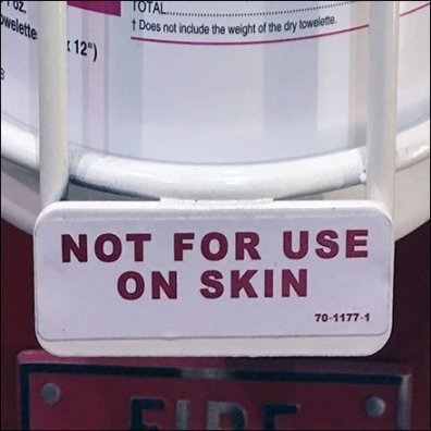 Sanitizer Wipe Not For Use On Skin