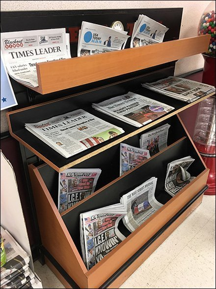Forward and Upward Facing Newsstand