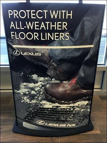 Lexus Floor Liners Protect Floorstand Sign
