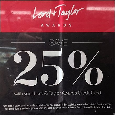 Lord & Taylor Awards 25% Savings Acrylic Sign Holder Feature