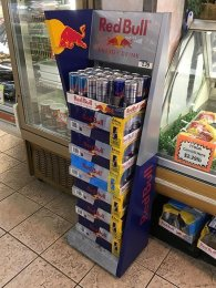 Russian Red Bull By The Case Tower Display