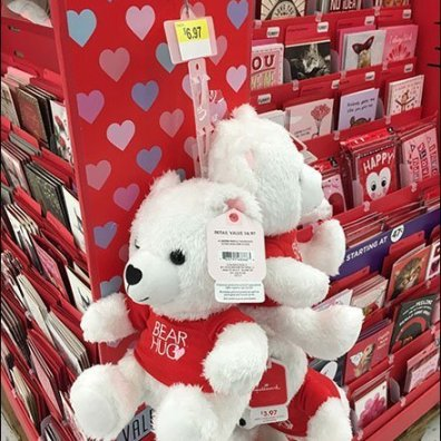 Valentine's Day Bear Hug Strip Merchandiser