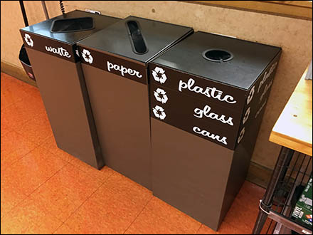 Recycling and Waste Bins Labeled in Script