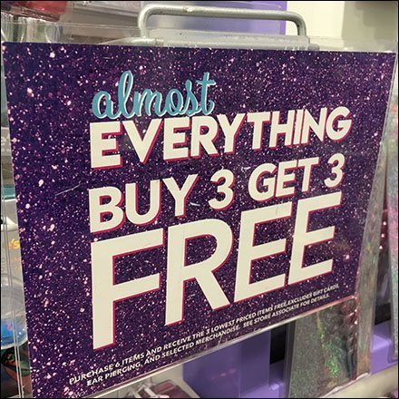 Claire's Accessories Store Fixtures - Almost Everything BOGO, Buy 3 Get 3 Free Sign Arm