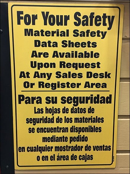 Material Safety Data Sheets Signing Posted