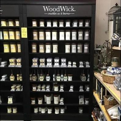 WoodWick Mahogany Wood Candle Display