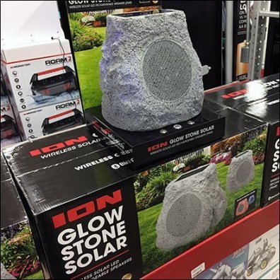 Glow Stone Solar Speaker Pallet Rack Demo
