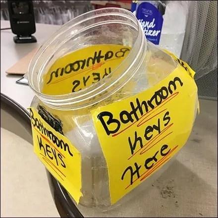 Counter-Top Fishbowl Restroom Key Holder