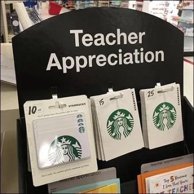Teacher Appreciation Gift Greeting Card Display