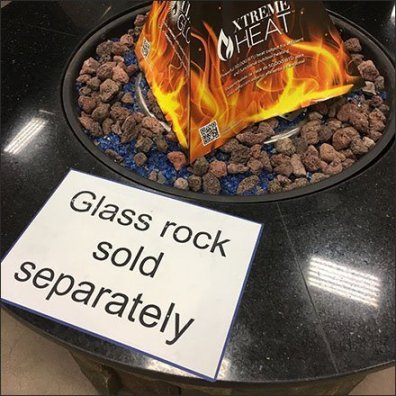 Firepit Glass Rock Sold Separately Sign