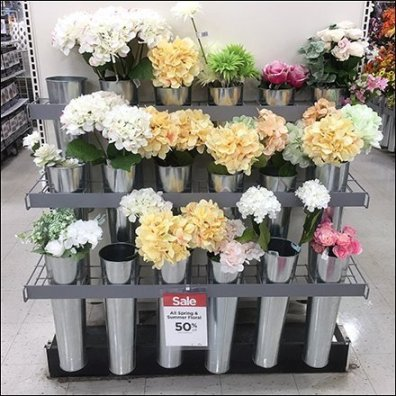 Galvanized Floral Vase Endcap Display Aux