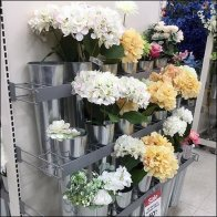 Galvanized Floral Vase Endcap Display