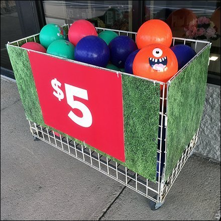 Gridwall Bulk Bin Sidewalk Ball Sales