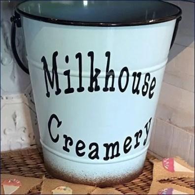 Milkhouse Creamery Milk Pail Vintage Branding