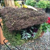 Rustic Thatched Birdhouse Planter Prop