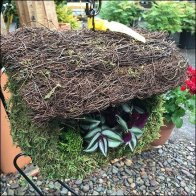 Rustic Thatched Birdhouse Planter Square