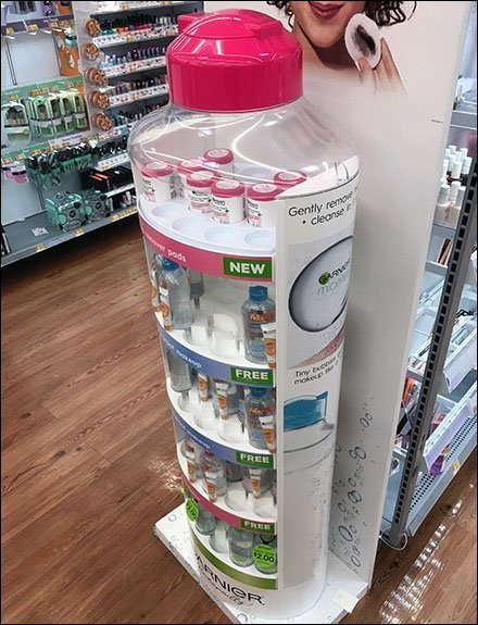 Garnier Displays / Garnier Merchandising - Garnier Misceliar Water Bottle Realistic Display