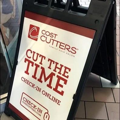 Cut Delay Check-In Online Sidewalk Sign