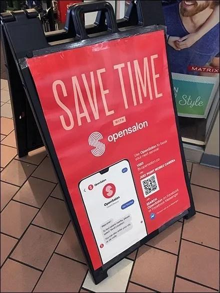 Open-Salon App QR-Code Sidewalk Sign