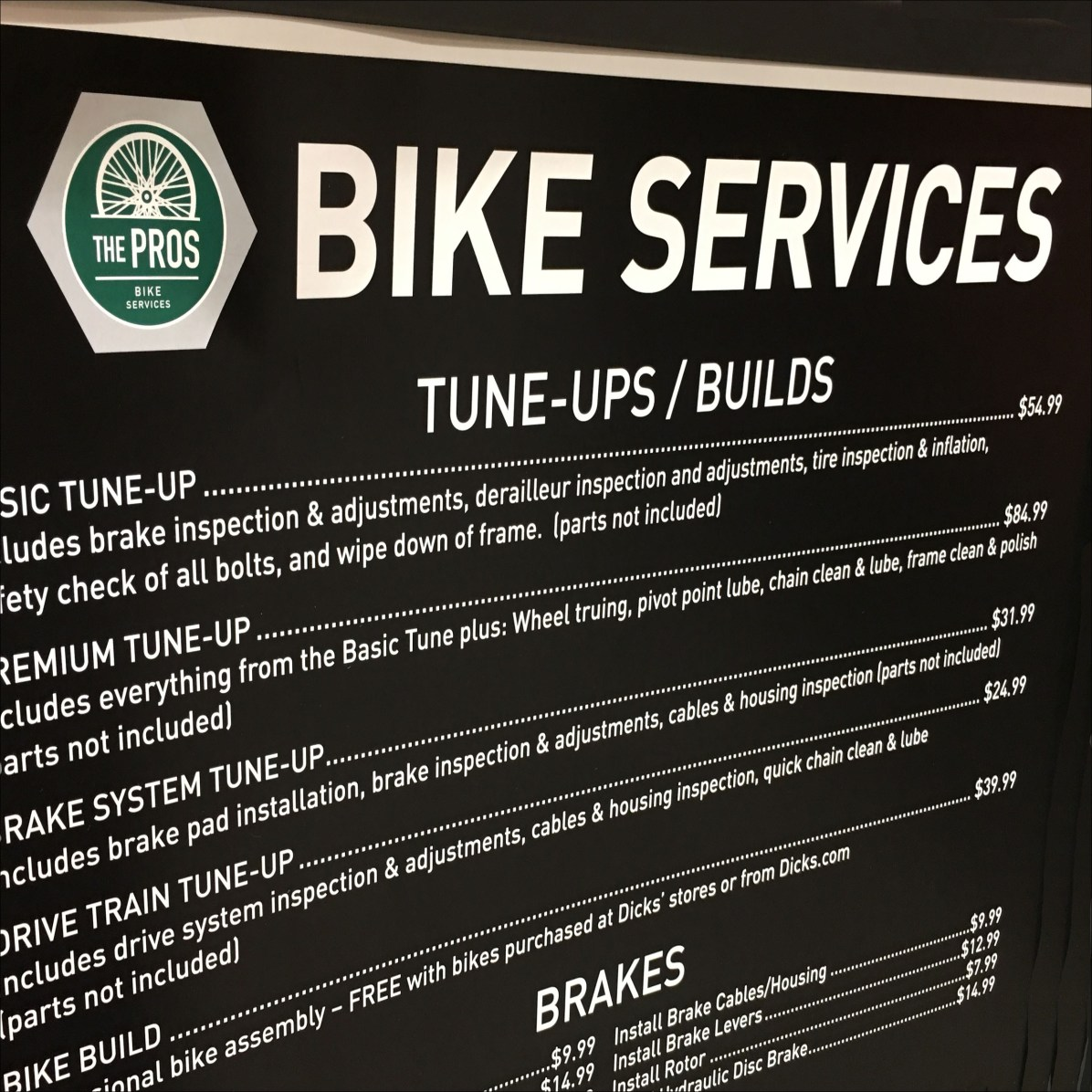 In-Store Bike Services Menu Signage