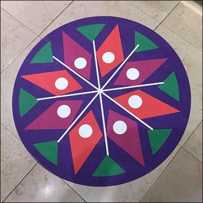 Colorful Mandala Floor Graphic Compass Rose