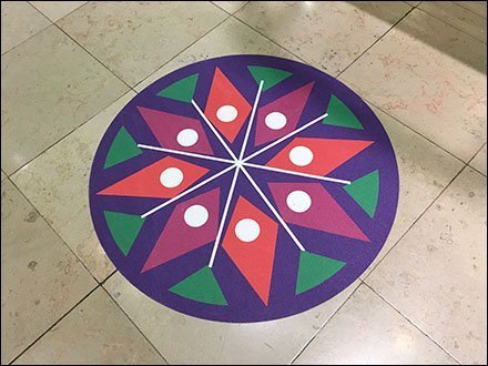 Colorful Mandala Floor Graphic Compass Rose