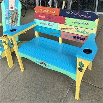 Margaritaville Adirondack Bench Rainbow Paint-job