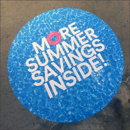 Summer-Savings-Inside Outlet Mall Floor Graphic