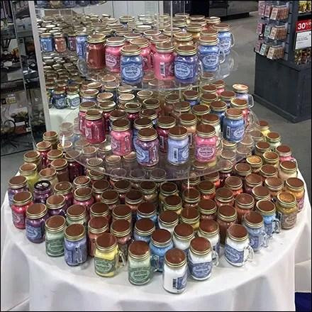 Mini-Mason-Jar Candle Draped Table Display