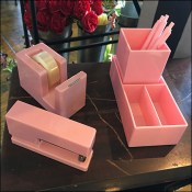 Pink Desk Accessories, Pink Pen Propping