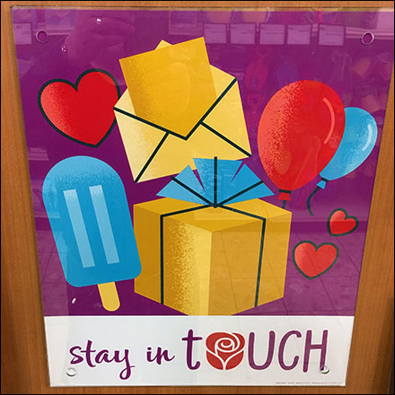 Stay-In-Touch Greeting Card Sentiment Sign Aux