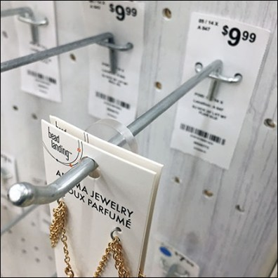 Display Hook Anchored Back Tag Planogramming Aux