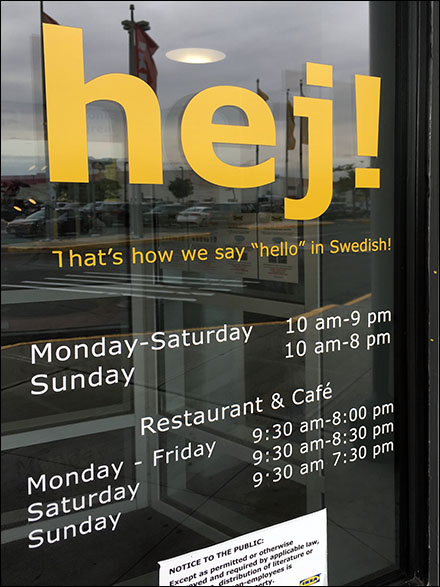 Hej Welcoming Hello in Swedish at IKEA