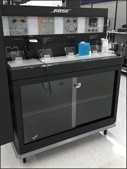 Bose Speaker and Headphone Cabinet Display