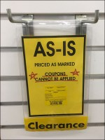 As-Is Purchase Sign Slatwall Hooked